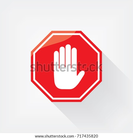 No entry hand sign. Symbol, illustration