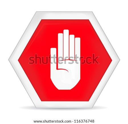 No entry stop hand sign - stock vector