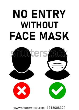 No Entry Without Face Mask Icon. Vector Image.