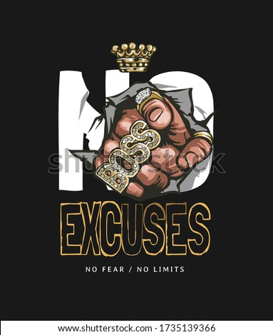 no excuses slogan with hand in gold rings pointing illustration on black background Stock photo ©