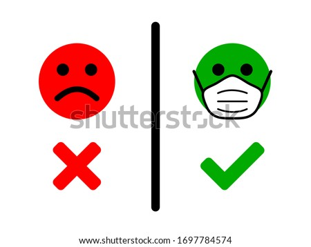 No Face Mask, No Entry Wrong and Right Wear a Face Covering Icon. Vector Image. Stockfoto ©