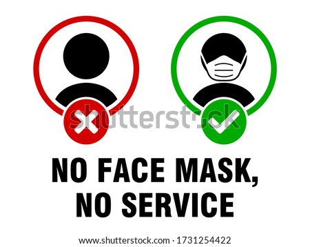 No Face Mask No Service or Face Covering Must Be Worn Sign. Vector Image. Stockfoto ©