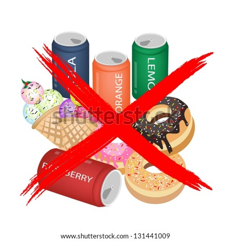 ... Prohibition Sign on Different Types of Sweet Food, Soda Drink, Donuts