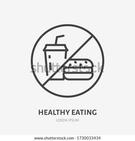 No fast food line icon, vector pictogram of unhealthy eating. Fastfood forbidden illustration, sign for diet.
