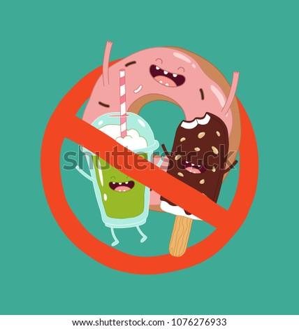 No fast food symbol. Vector illustration.