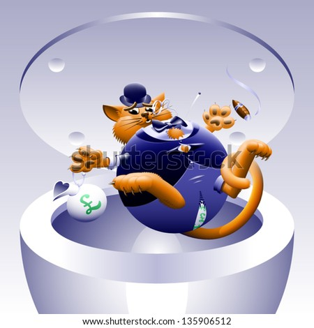 No Fat Cats 4: Cat in the Can - The corporate or Wall Street fat cat. The millionaire, billionaire big money man banker. Symbol of greed & corruption. Vector contains gradient mesh.