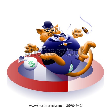 No Fat Cats 2 - The corporate or Wall Street fat cat. The millionaire, billionaire big money man banker. Symbol of greed & corruption. Vector contains gradient mesh.