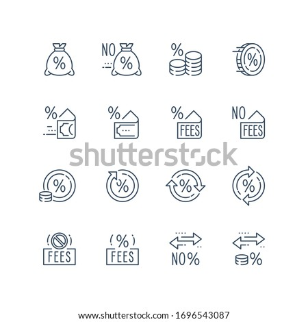 No fees sign, zero commission, low percentage payment, deposit or withdraw money, financial transfer services, currency exchange, vector line icon set Stock photo ©
