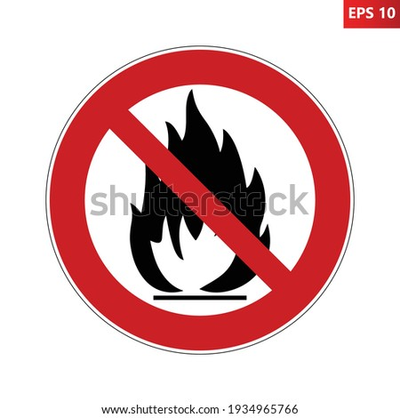 No fire prohibition sign. Vector illustration of red crossed out circle sign with fire flame icon inside. No bonfire allowed. Campfire symbol. Stock photo ©
