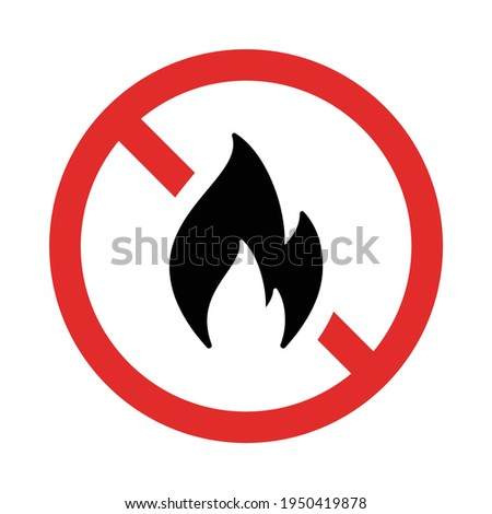 No fire red sign. Flame not allowed. Flammable symbol. Foto stock ©