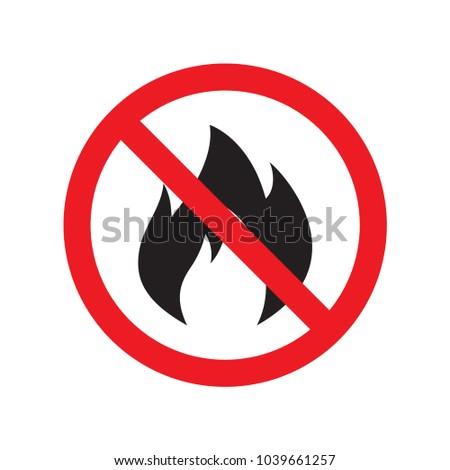 No fire sign icon. Hazard symbol. Vector illustration