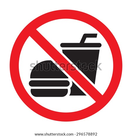 No food allowed symbol, isolated on white background. Prohibition sign.