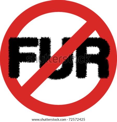 No fur sign in vector
