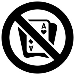 No gambling forbidden sign, modern round sticker