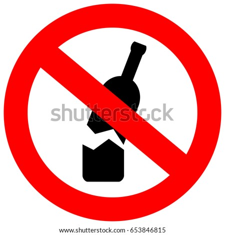 No glass or bottles allowed in this area vector eps sign