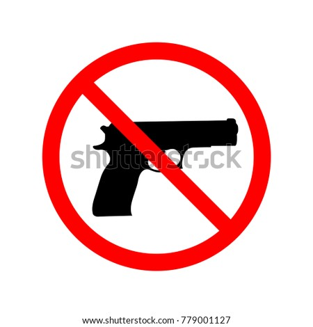 No gun allowed sign. Symbol, illustration