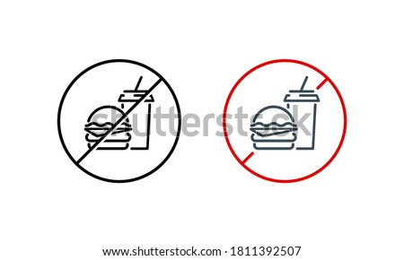 No hamburger, no drink icon. No junk food. Health care concept. Vector on isolated white background. EPS 10