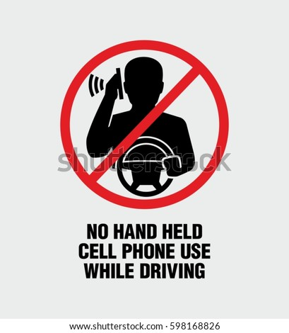 No hand held cell phone use while driving warning vector sign