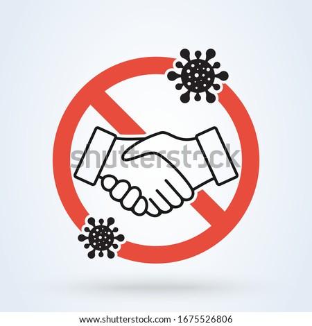 No handshake for virus prevention concept. Bacteria when shaking hands. vector illustration