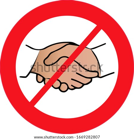 No handshake icon with red forbidden sign, avoiding physical contact and coronavirus infection. Forbidden handshake symbol concept. Vector illustration.
