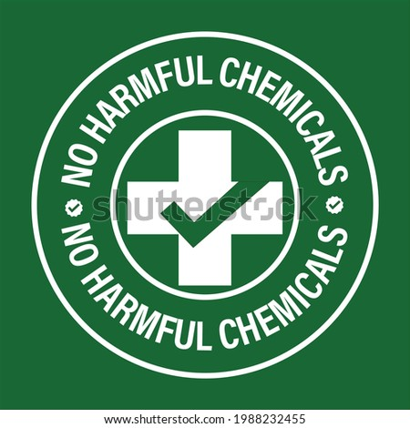 no harmful chemicals added vector icon with cross and tick mark, white in color Stock photo ©