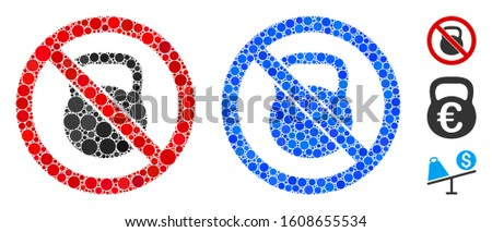 No heavy weight composition of spheric dots in various sizes and color tints, based on no heavy weight icon. Vector dots are organized into blue composition.