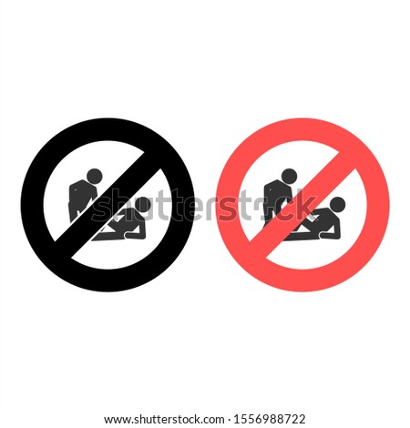 No help a friend, helps to get up icon. Simple glyph, flat vector of friendship ban, prohibition, embargo, interdict, forbiddance icons for ui and ux, website or mobile application
