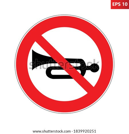 no horn road sign vector