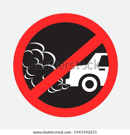 No idling turn engine off sign sticker on gray background. Forbidden exhaust round label. Smoke and smog danger. Environmental pollution Photo stock ©