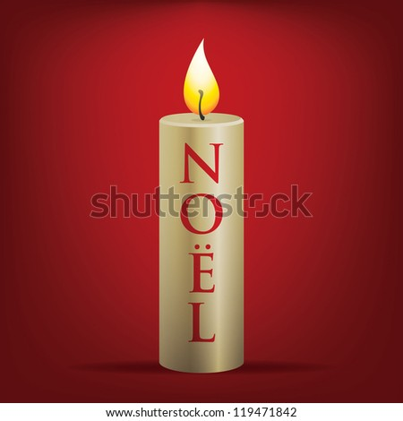 No�«l Christmas candle card in vector format.