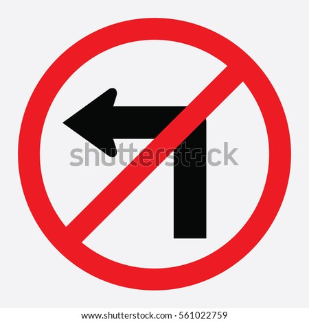 No left turn traffic sign
