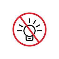 No light bulb sign vector image. No light forbidden light bulb sign vector image.