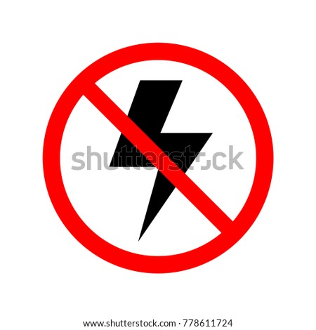 No lightning icon. Prohibited sign, symbol, illustration