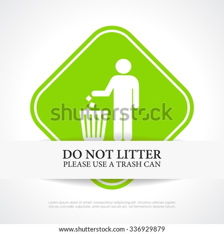 No littering vector sign illustration isolated on white background