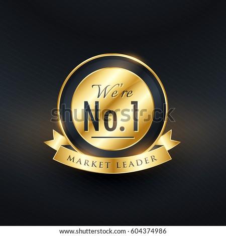 No. 1 market leader golden label and badge design Сток-фото ©