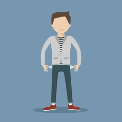 No money concept. Sad young man showing empty pockets. Vector illustration flat design