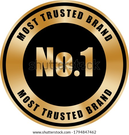 No.1 most trusted brand badge black and gold color metallic premium Сток-фото ©