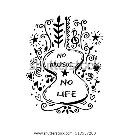 no music no life lettering