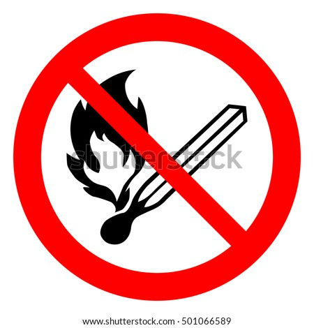 No open flame sign. No fire, No access with open flame prohibition sign. Red, black and white vector illustration.