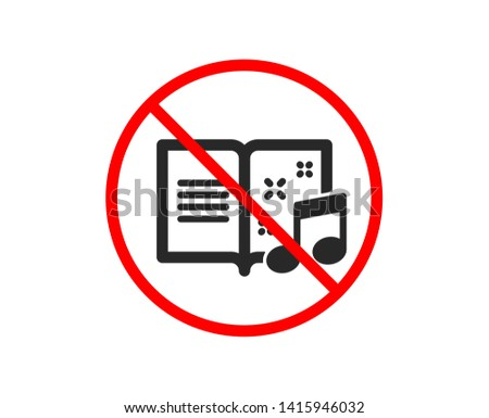 no or stop music book icon