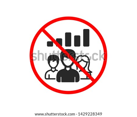No or Stop. Teamwork results icon. Group of people sign. Prohibited ban stop symbol. No teamwork results icon. Vector