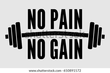 no pain no gain dumbbell vector