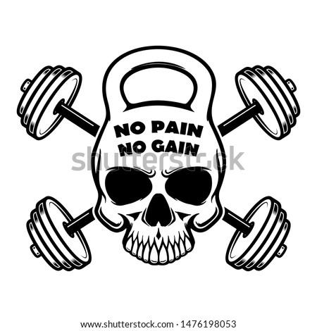no pain no gain. Skull in kettlebell form and crossed barbells. Design element for logo, label, sign, poster. Vector illustration