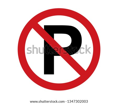 no parking sign icon red and black on white background