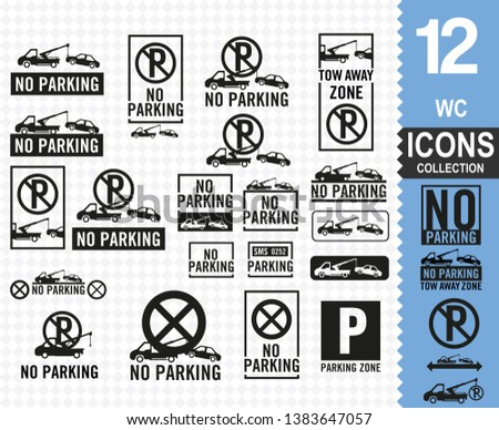 No parking signs collection vector (30 vector icons)