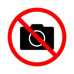 no photo symbol. red prohibition sign with camera on white circular plate isolated on white background. vector illustration