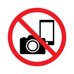 No photography, No camera and mobile phone sign, Prohibition symbol sticker for area places, Isolated on white background, Flat design vector illustration