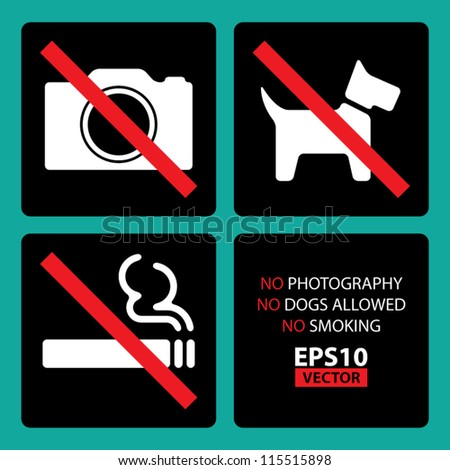 No Photography, No Dogs Allowed, No Smoking Signs Set 2 with Square background and Round Corners - EPS10 Vector
