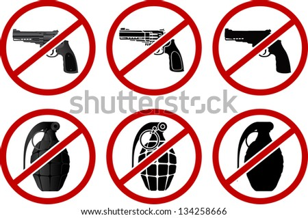 no pistols and grenades vector
