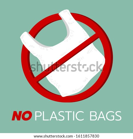 no plastic bags,Ecology.Vector illustration. Solid background